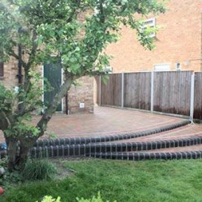 Large patio - Block paving and steps